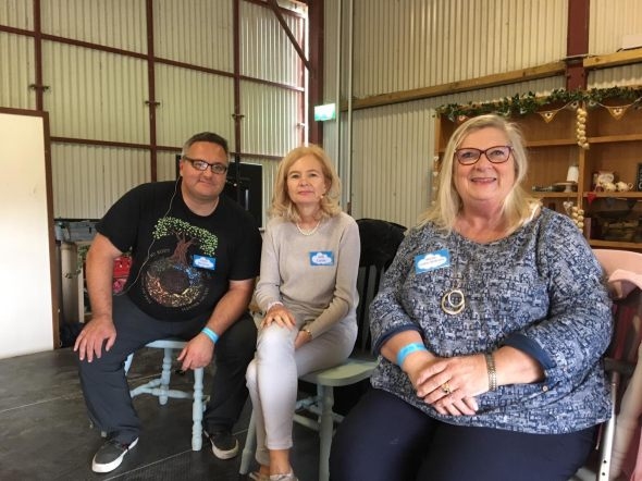 Oisin, Judi and I in the Green Barn in Airfield